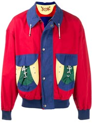 Jc De Castelbajac Vintage 1980'S Colour Block Bomber Jacket Red
