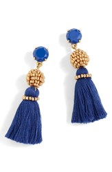 J.Crew Bead And Tassel Drop Earrings Dark Harbor