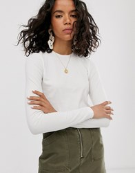 Weekday Fine Ribbed Long Sleeve T Shirt In Off White