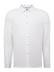 Peter Werth Bell Cross Hatch Print Slim Fit Long Sleeve Butto White