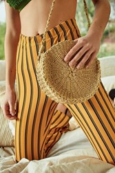 Urban Outfitters Small Circle Straw Round Crossbody Bag Black