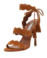 Tabitha Simmons Cirrius Suede Three Strap Sandal Brown Gold Brown Gold