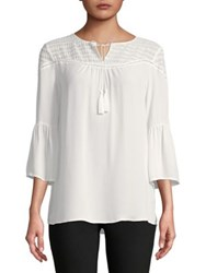 Ivanka Trump Embroidered Eyelet Georgette Blouse Vanilla