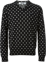 Comme Des Garcons Play Polka Dot V Neck Sweater Black