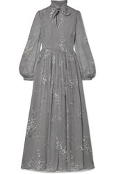 Co Pussy Bow Floral Print Crinkled Silk Chiffon Maxi Dress Gray