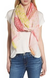 Echo Patchwork Print Silk Scarf Pearl Pink