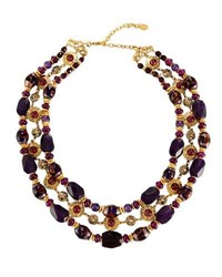 Jose And Maria Barrera Triple Row Agate Glass Beaded Collar Necklace Purple