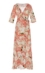 Isolda Frilled Wrap Maxi Dress Floral