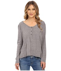 Volcom Hurry Up Henley Top Heather Grey Women's Long Sleeve Pullover Gray