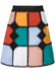 Loveless Colour Block Flared Skirt Multicolour