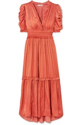 Ulla Johnson Maya Ruched Embroidered Satin Midi Dress Coral