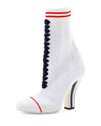 Fendi Knit Lace Up Sneaker Bootie White
