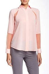 Insight Spread Collar Sheer Blouse Pink
