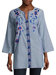 Kas Embroidered Cotton Tunic Denim