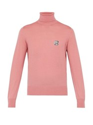 Prada Logo Intarsia Roll Neck Wool Sweater Pink
