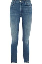 Mother The Stunner Cropped Frayed Mid Rise Skinny Jeans Mid Denim