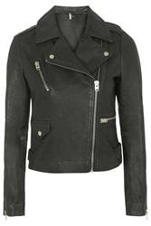 Topshop Tall Washed Leather Jacket Black