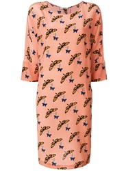 Odeeh Butterfly Print Dress Pink And Purple