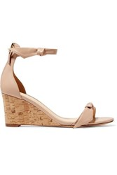 Alexandre Birman Clarita Bow Embellished Leather Wedge Sandals It35