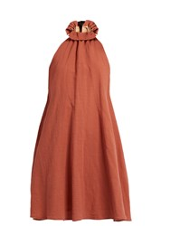 Kalita Charlie Tie Neck Cotton Dress Dark Tan