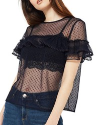 Miss Selfridge Spot Mesh Tulle Tee Navy Blue