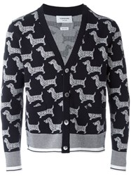 Thom Browne Dog Print Cardigan Blue