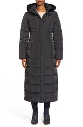 Women's Gallery Hooded Long Down And Feather Fill Coat With Faux Fur Trim