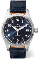 Iwc Schaffhausen Pilot's Automatic 36 Alligator And Stainless Steel Watch Silver