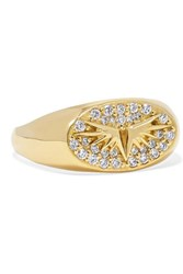 Foundrae Baby Wings 18 Karat Gold Diamond Signet Ring