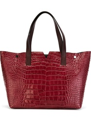 Vince Stamped Crocodile Tote Bag Red