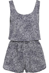 Stella Mccartney Printed Cotton And Silk Blend Playsuit Midnight Blue