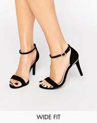 New Look Wide Fit Barely There Heeled Sandal Black