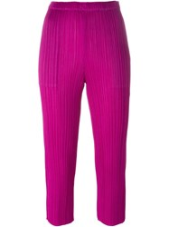 Pleats Please By Issey Miyake Pleated Cropped Trousers Pink And Purple