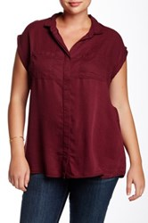 Live A Little Short Sleeve Woven Shirt Plus Size Purple