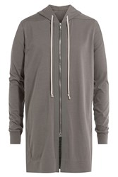 Rick Owens Men Oversized Cotton Hoodie Grey