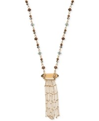 Lonna And Lilly Gold Tone Long Beaded Tassel Pendant Necklace Multi