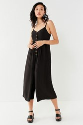 Urban Outfitters Uo Tootsie Button Down Cropped Jumpsuit Black