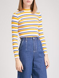 Chocoolate Striped Jersey Turtleneck Top Yellow