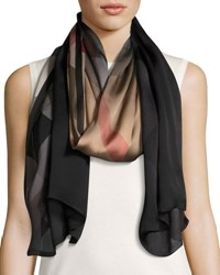 Burberry Ombre Washed Check Silk Scarf Brown Black Brown Black