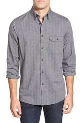Men's Big And Tall Nordstrom Flannel Button Down Sport Shirt Grey Dark Charcoal Heather