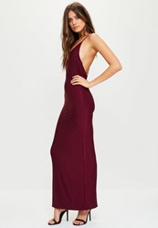 Missguided Burgundy Slinky Cowl Back Strappy Maxi Dress