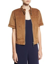 Theory Lavzinnie Wilmore Short Sleeve Suede Jacket Brown