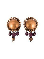 Jean Paul Gaultier Vintage Pendant Clip On Earrings Brown