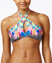 Bar Iii Feather Daze Crossover High Neck Halter Bikini Top Only At Macy's Women's Swimsuit Black Multi