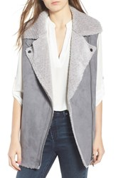 Love Token Faux Suede Vest Grey