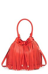 Milly 'Essex' Fringed Leather Bucket Bag Red Vermilion Red