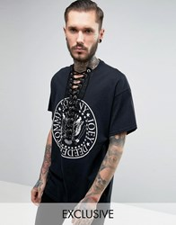 Reclaimed Vintage Oversized Band T Shirt With Lace Up Front Black
