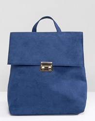 New Look Square Folderover Backpack Blue