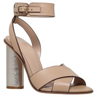 Kurt Geiger Talbot Block Heeled Sandals Nude Leather