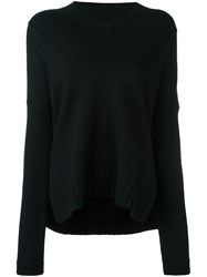 Barbara Bui Round Ribbed Neck Pullover Black